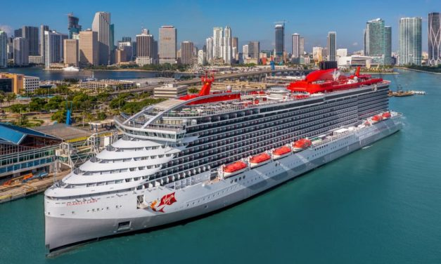 Virgin Voyages' Scarlet Lady setting sail for the first time from its home in PortMiami
